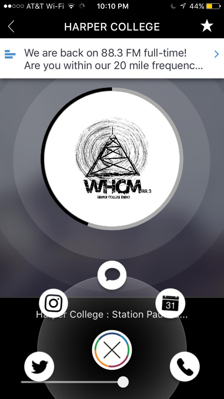 WHCM 88.3 FMHarper College Radio FX App IMG_0737
